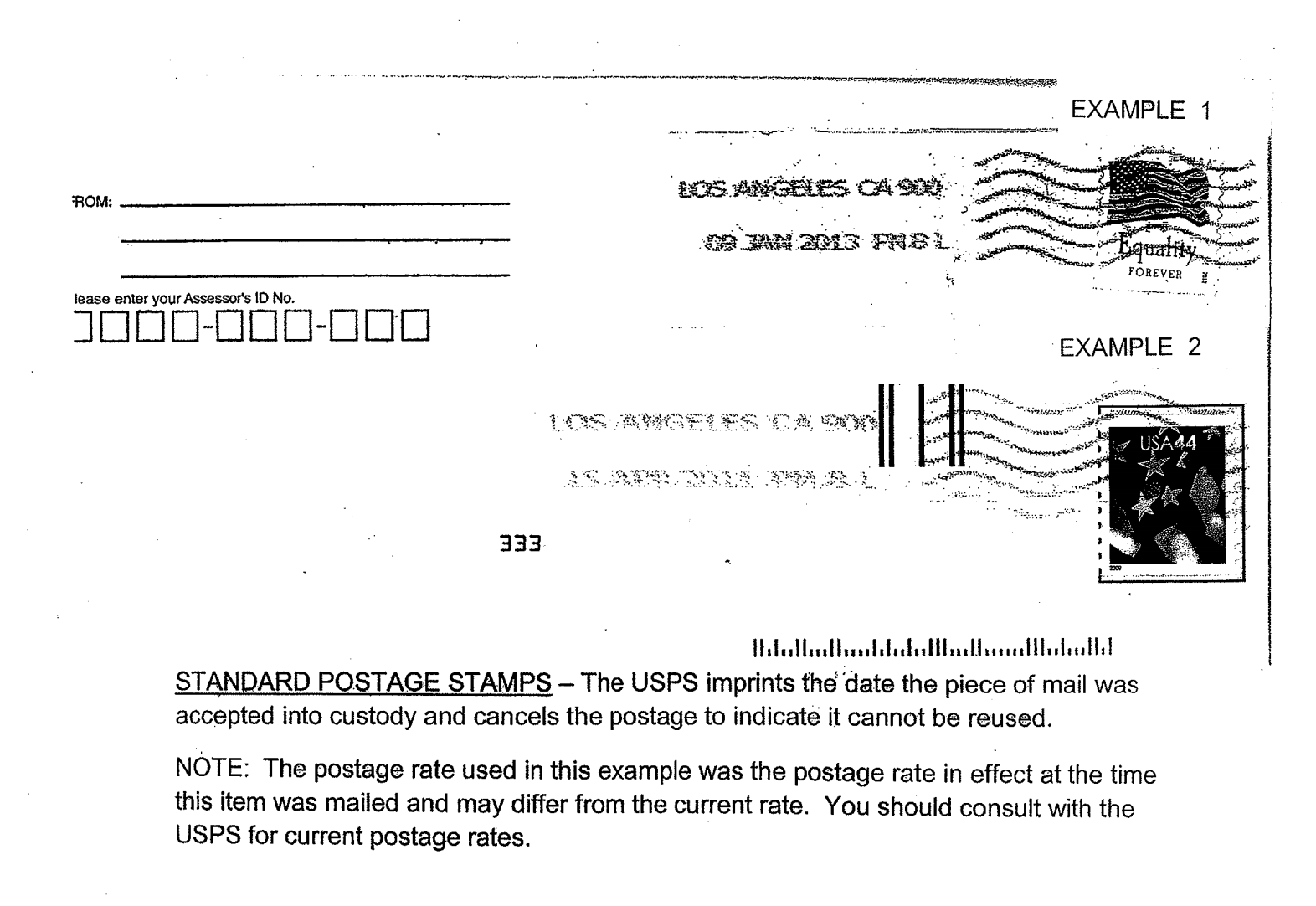 Standard Postage Stamps example.